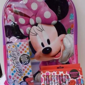 MINNIE MOUSE BACKPACK 3 PC SET CRAYONS TIN CASE